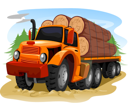 deforestation: Illustration of a Logging Truck Carrying Timber Stock Photo