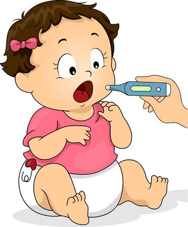 Illustratie van een baby haar mond open voor de Thermometer