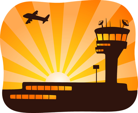 control tower: Illustration of a Plane Flying Away from a Control Tower at Sunset Stock Photo