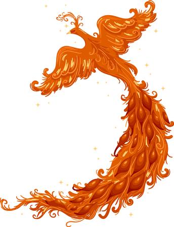 Knipsel Illustratie van een Firebird met een Majestic Tail