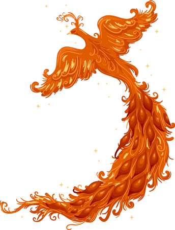 Cutout Illustration of a Firebird with a Majestic Tail