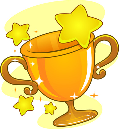 achievement clip art: Illustration of a Golden Cup Trophy Surrounded by Stars