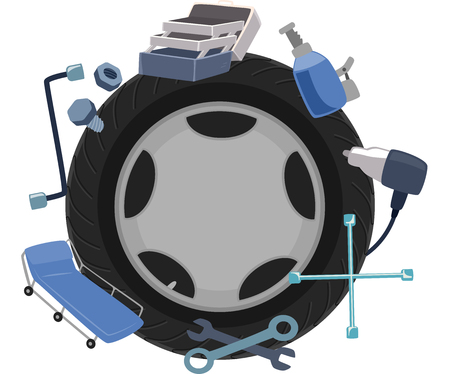 surrounded: Illustration of a Wheel Surrounded by Mechanical Tools Stock Photo