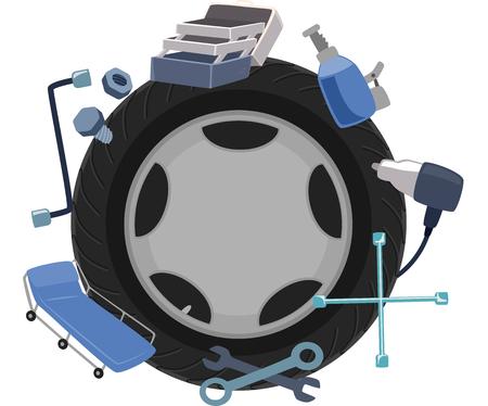 herramientas de mecánica: Ilustración de una rueda de Rodeado de Herramientas Mecánicas Foto de archivo
