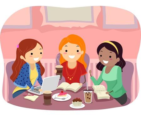 study: Ilustración stickman de un grupo de chicas adolescentes que estudia en un café