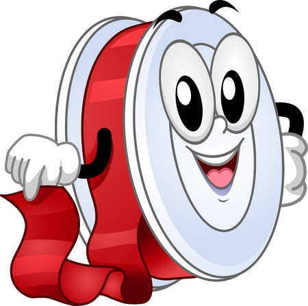 frilly: Mascot Illustration of a Roll of Red Ribbon Smiling Happily