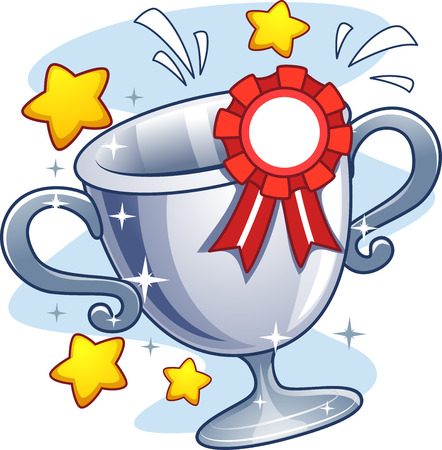 achievement clip art: Illustration of a Cup Trophy with a Ribbon Pinned to It