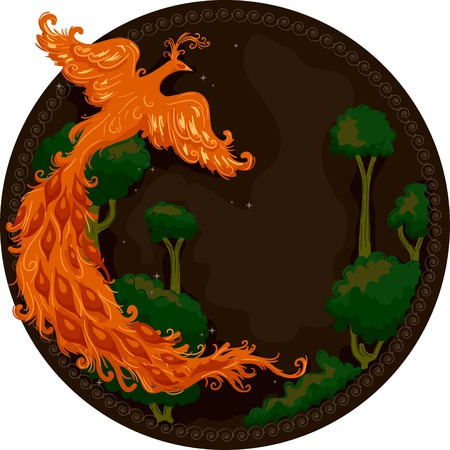 mythical phoenix bird: Illustration of a Firebird Hovering Over the Trees in a Forest Stock Photo
