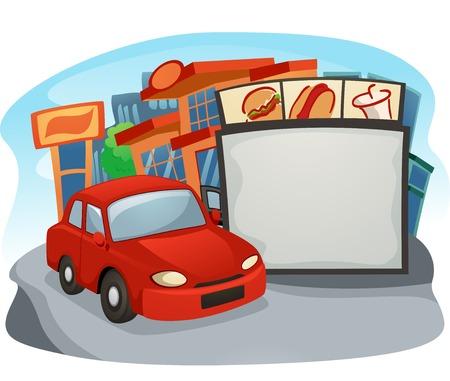 drive through: Illustration of a Car at a Drive Thru Restaurant