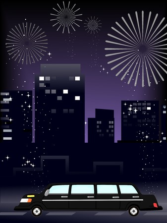 pyrotechnics: Illustration of a Limousine Driving Around a City Illuminated by Fireworks