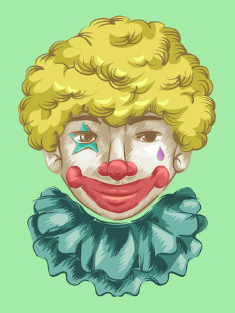 fully: Illustration of a Fully Made Up Clown Flashing a Smile