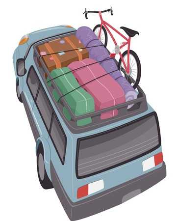 packing suitcase: Illustration of an SUV Geared for a Long Road Trip