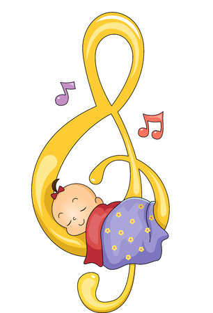 Illustration of a Baby Girl Sleeping Peacefully on a G-clef Stock Photo
