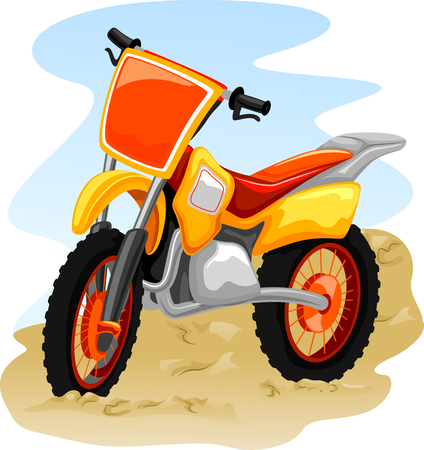 dirt road recreation: Illustration of a Motocross Bike in the Middle of a Dusty Road Stock Photo