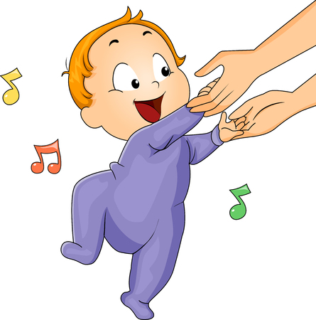 Illustration of a Cute Baby in a Onesie Dancing Stock Photo