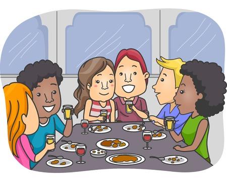 pareja comiendo: Ilustración de un grupo de amantes tiene una comida junto Foto de archivo
