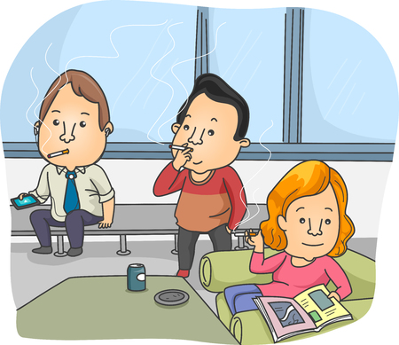 lounge room: Illustration of Smokers Taking a Break in the Smoking Room Stock Photo