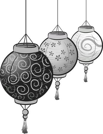 dangle: Illustration of Black and White Paper Lanterns