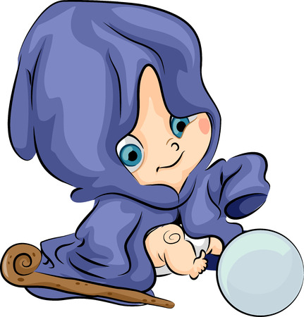 whiz: Illustration of a Baby Wizard Checking a Crystal Ball