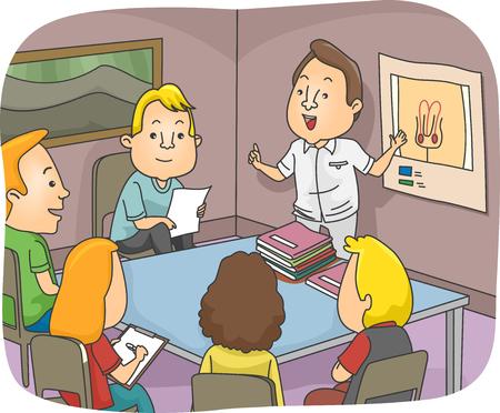 Ilustración de una clase de educación sexual Discusión del sistema reproductor masculino