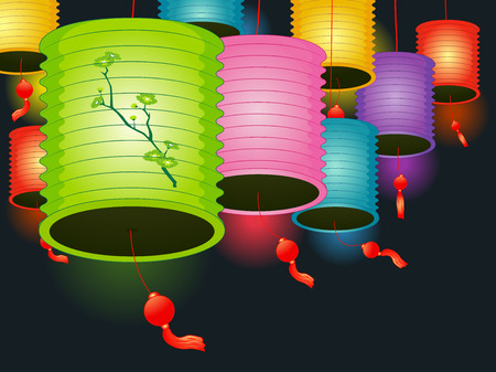 paper arts and crafts: Illustration of Colorful Paper Lanterns Used as Decorations for a Lantern Festival Stock Photo