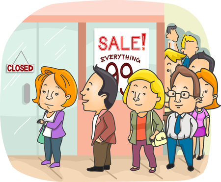 thrift: Illustration of a Long Line Outside a Mall Having a Sale