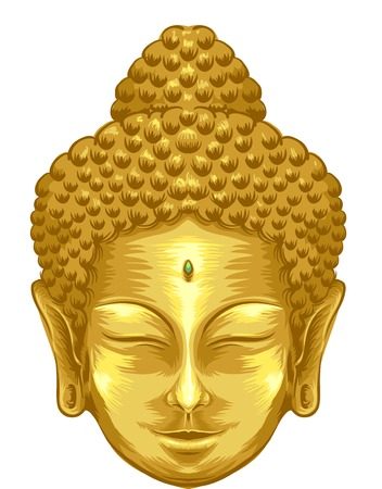 divinity: Illustration Featuring the Face of a Golden Buddha