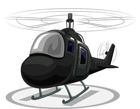 ヘリポートに着陸のヘリコプターのイラスト