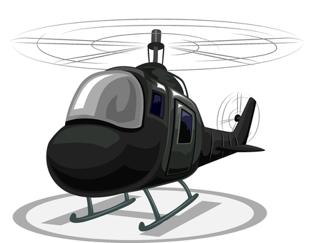 Illustration of a Helicopter Landing on a Helipad Stock Photo