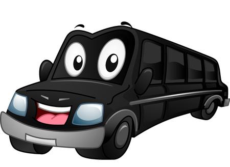 beautiful smile: Mascot Illustration of a Black Limousine Flashing a Smile