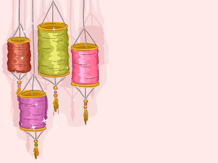 hanging dangling: Colorful Illustration of Paper Lanterns Against a Pink Background