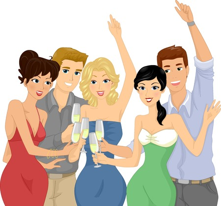 woman drinking wine: Illustration of a Group of Friends Having a Toast