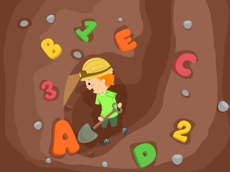 schooler: Stickman Illustration of a Kid Boy Using a Shovel to Dig Numbers and Letters