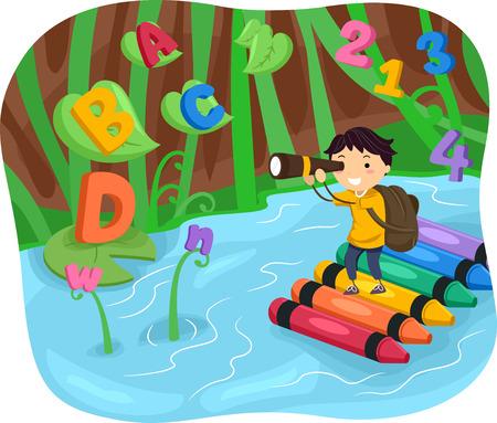 bonhomme allumette: Illustration Stickman d'un Kid Boy Spotting Lettres et chiffres Bien que sur une aventure rivière