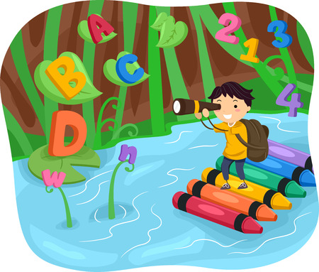 crayons: Stickman Illustration of a Kid Boy Spotting Letters and Numbers While on a River Adventure