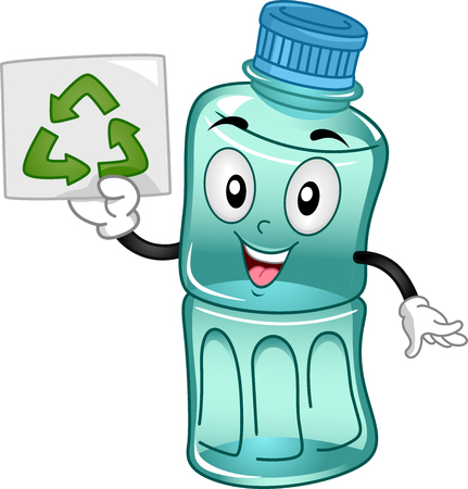 recycle: Mascot Illustration of a Plastic Bottle promoting the importance of Recycle Stock Photo