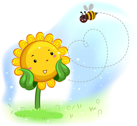 pollination: Mascot Illustration of a Sunflower Enjoying the bees