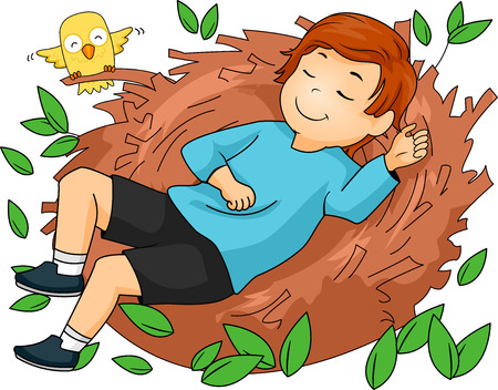 unwind: Illustration of a Boy while sleeping on a nest