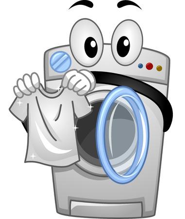 Ilustración de la mascota de una lavadora Manejo de una camisa blanca limpia Foto de archivo - 54948826