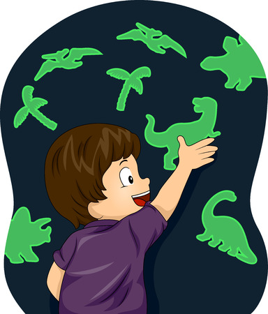 glow in the dark: Illustration of a Boy Enjoying the Glow in the Dark Dinosaurs figures