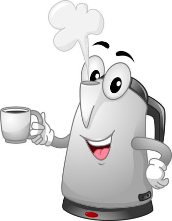 kettles: Ilustración de la mascota de un hervidor eléctrico manejo de una taza Foto de archivo