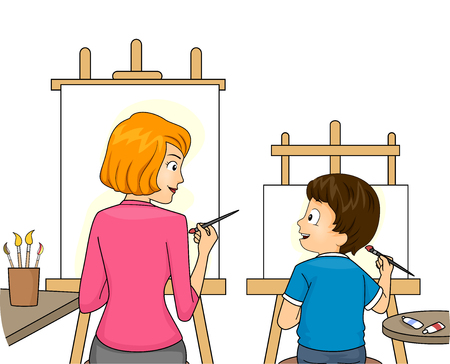 early childhood: Illustration of a Mom Teaching Her Son to Paint Stock Photo