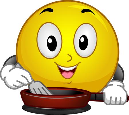 unwind: Mascot Illustration of a Smiley while Enjoying Cooking Stock Photo
