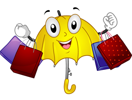 anthropomorphic: Mascot Illustration of an Umbrella carrying shopping bags in a rainy day
