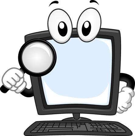 handling: Mascot Illustration of a Computer handling a Magnifying Glass