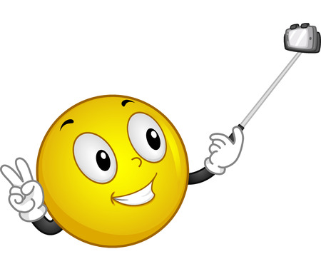 cartoonize: Mascot Illustration of a Smiley handling a Selfie Stick Stock Photo
