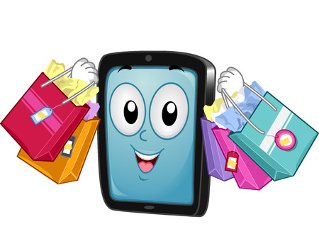 cartoonize: Mascot Illustration of a TabletMobile Phone while carrying Shopping Bags