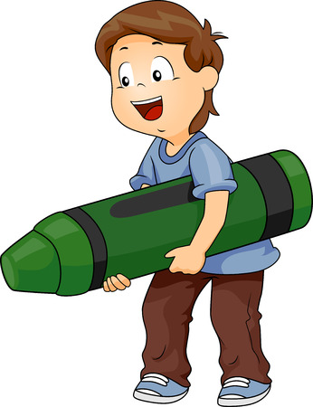 grade schooler: Illustration of a Kid Boy Carrying a Big Green Crayon Stock Photo