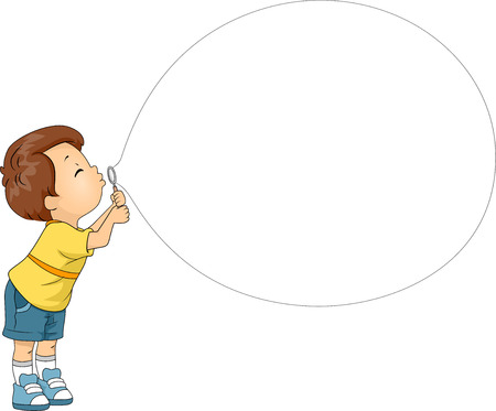 blowing: Mascot Illustration of a Boy while blowing his Bubble Toy Stock Photo