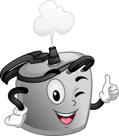 Mascot Illustratie van een snelkookpan terwijl het doen het goed teken